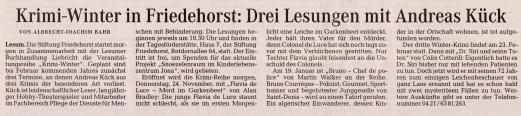"""01c Quelle """"Die Norddeutsche"""" vom 23. November 2011; Seite 1"""