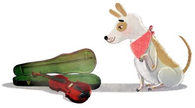 An der Geige Hugo, der Hund - von David Litchfield (1)