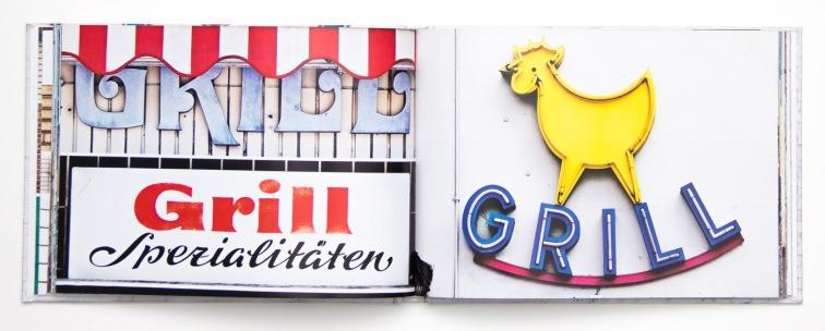 """Hamburger Ladenschilder von A-Z, Doppelseite """"Grill"""", Junius Verlag, 2010"""