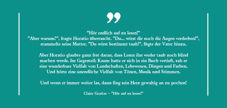 Claire Gratias – Hör auf zu lesen!